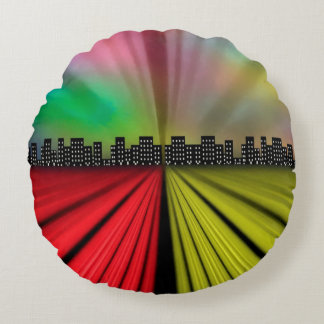 Into the City at Night Round Pillow