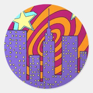 """Into the City"" Classic Round Sticker"