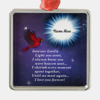 Into the light cardinal Silver-Colored square ornament