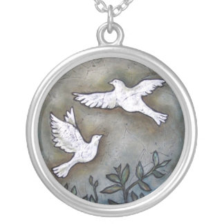 Into The Light  Inspirational Doves Silver Plated Necklace
