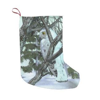 Into The Wild Snowy Owl SCENE HOLIDAY DECOR Small Christmas Stocking