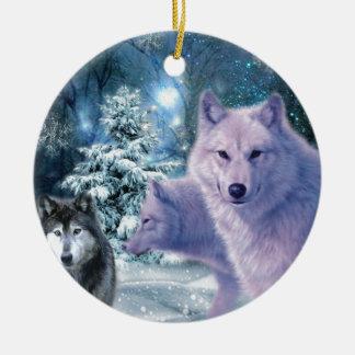 Into The Wild Wolf Art Ceramic Ornament