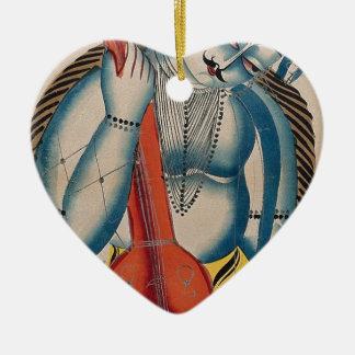 Intoxicated Shiva Holding Lamb Ceramic Heart Ornament