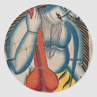 Intoxicated Shiva Holding Lamb Round Sticker