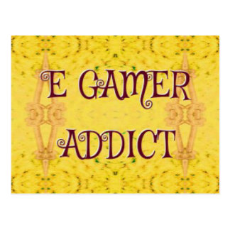 Intoxiqué de Gamer d'E de jaune nouveau Carte Postale