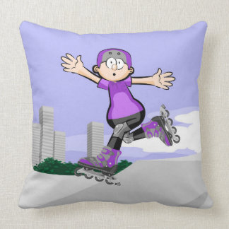 Intrepid skate on wheels young jumping throw pillow