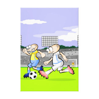 Intrepid soccer player running with the ball canvas print