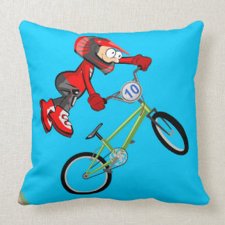 Intrepid young BMX is amused with this jump Throw Pillow