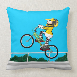 Intrepid young BMX making a pirouette Throw Pillow