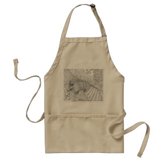 Intricate Armadillo tangle design on an apron