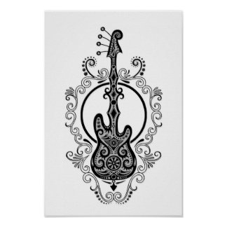 Intricate Black Bass Guitar Design on White Print