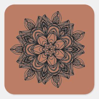 Intricate black floral medallion design square sticker