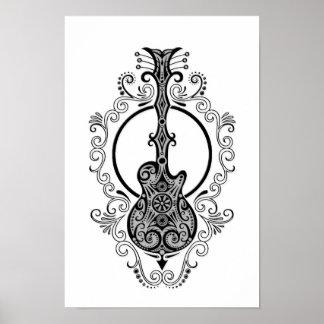 Intricate Black Guitar Design on White Poster