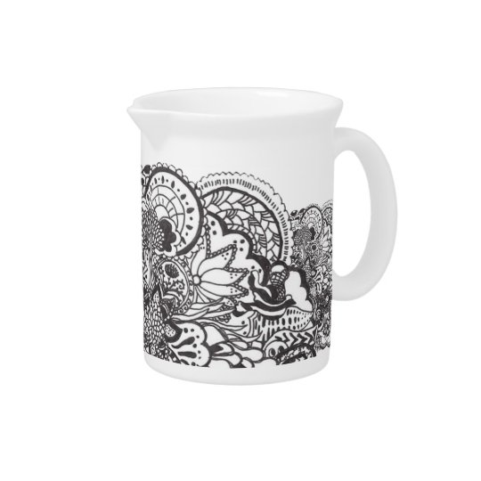 Intricate black pen and ink art beverage pitcher