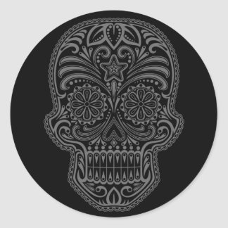 Intricate Black Sugar Skull Classic Round Sticker