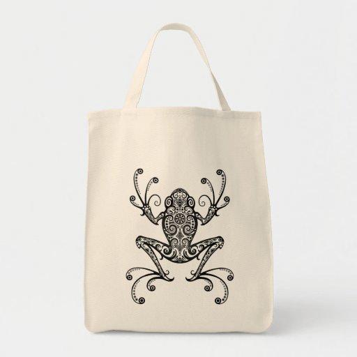 Intricate Black Tree Frog Bag