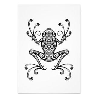 Intricate Black Tree Frog on White Custom Invite