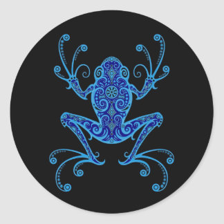 Intricate Blue and Black Tree Frog Classic Round Sticker