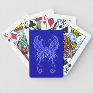 Intricate Blue Butterfly Bicycle Playing Cards