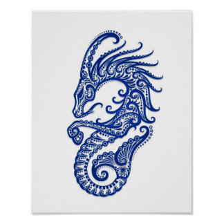 Intricate Blue Capricorn Zodiac on White Poster