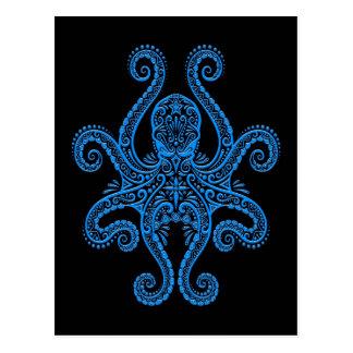 Intricate Blue Octopus on Black Postcard