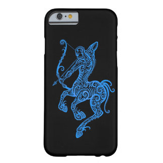 Intricate Blue Sagittarius Zodiac on Black Barely There iPhone 6 Case