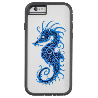 Intricate Blue Seahorse Design on White Tough Xtreme iPhone 6 Case