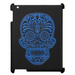 Intricate Blue Sugar Skull on Black Cover For The iPad