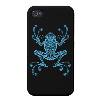 Intricate Blue Tree Frog iPhone 4 Cases