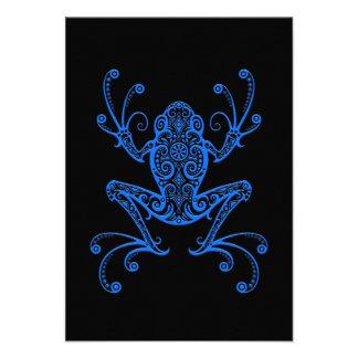 Intricate Blue Tree Frog on Black Invites