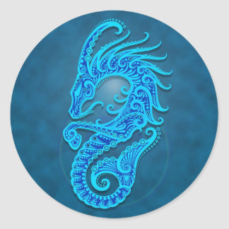 Intricate Blue Tribal Capricorn Round Sticker
