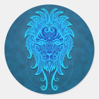 Intricate Blue Tribal Leo Classic Round Sticker
