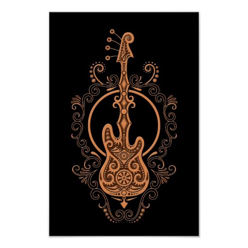 Intricate Brown Bass Guitar Design on Black Poster