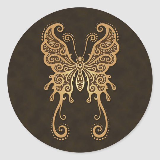 Intricate Brown Butterfly Classic Round Sticker
