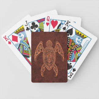 Intricate Brown Stone Sea Turtle Poker Deck