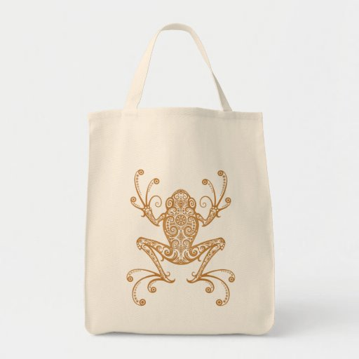 Intricate Brown Tree Frog Canvas Bags