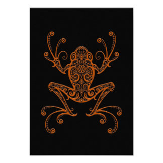 Intricate Brown Tree Frog on Black Custom Announcements