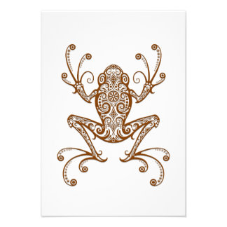 Intricate Brown Tree Frog on White Custom Announcements