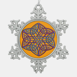 Intricate celtic knot in unusual faded colors snowflake pewter christmas ornament