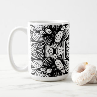 Intricate Classic Floral Pattern Black and White Coffee Mug
