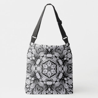 Intricate Classic Floral Pattern Black and White Crossbody Bag
