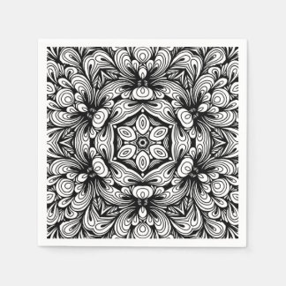 Intricate Classic Floral Pattern Black and White Paper Napkins