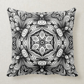 Intricate Classic Floral Pattern Black and White Throw Pillow