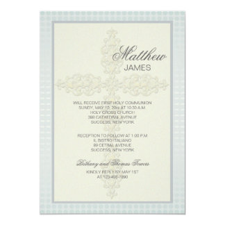 Intricate Cross (Blue-Gray) Religious Invitation