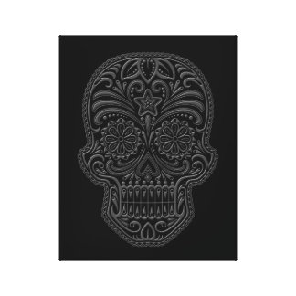 Intricate Dark Sugar Skull Canvas Prints