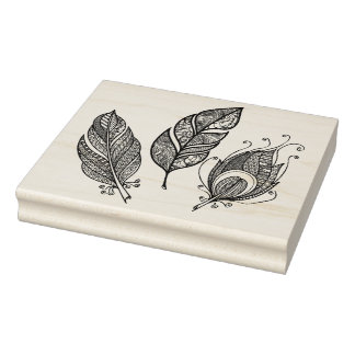 Intricate Feather Doodle Rubber Stamp