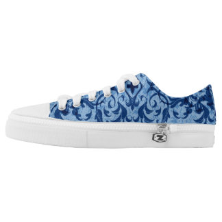 Intricate Fleur De Lis in Blue Low-Top Sneakers