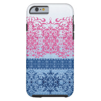 Intricate Fleur De Lis in Pink and Blue Tough iPhone 6 Case