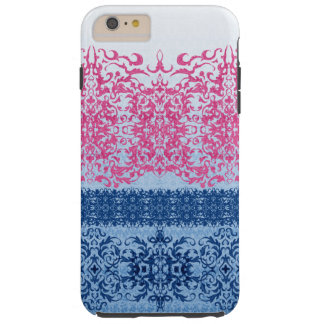 Intricate Fleur De Lis in Pink and Blue Tough iPhone 6 Plus Case