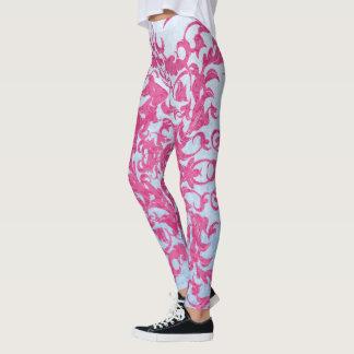 Intricate Fleur De Lis in Pink Leggings